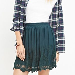 Forever 21 Green Embroidered Lace Floral Skirt